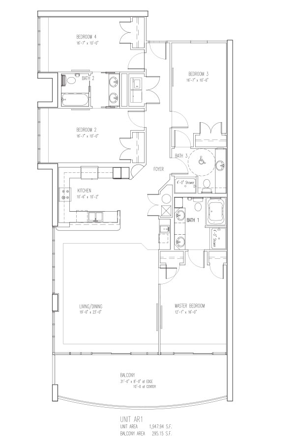 4 Bed 3 Bath - L Sleeps 16 Floor Plan