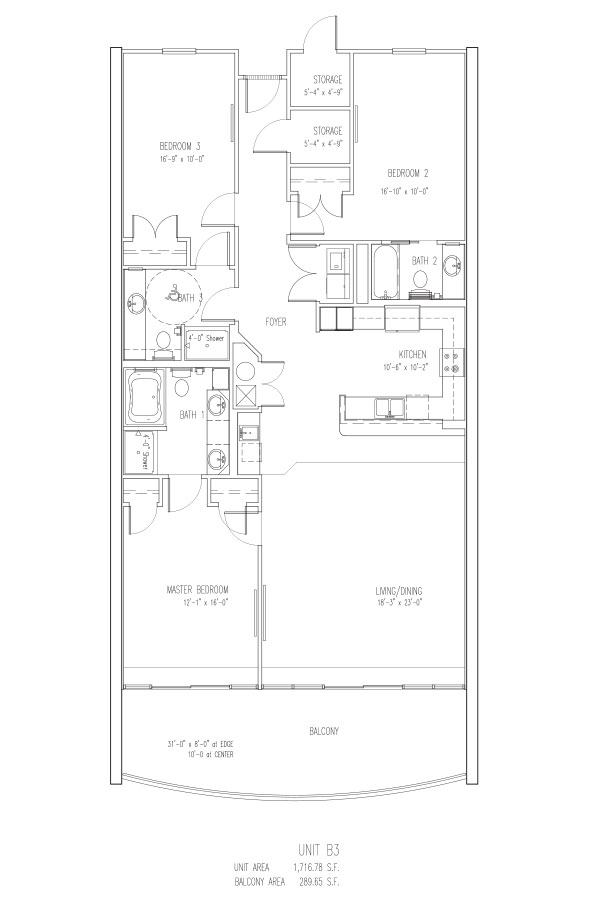 3 Bed 3 Bath - L Sleeps 12 Floor Plan