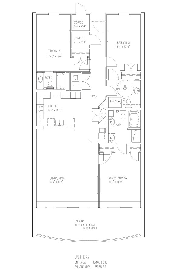 3 Bed 3 Bath - R Sleeps 12 Floor Plan
